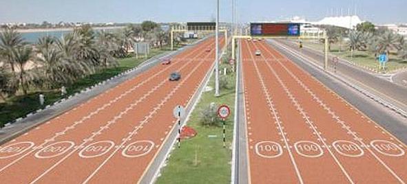 Abu Dhabi : des routes peintes pour signaler la vitesse limitée