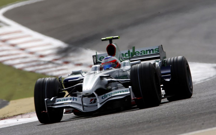 Rubens Barrichello au volant de sa Honda F1 2008